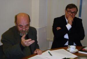 В.Н.Соловьев и С.В.Мироненко во время дискуссии «Останки или святые мощи?»  или В.Н. Соловьев фото из книги А.К. Голицына