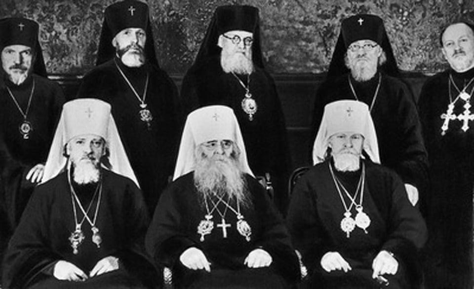 Митрополит Сергий и члены Священного Синода