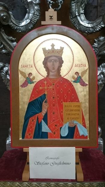 Икона св. Агаты, которую мы встретили в одном из храмов.