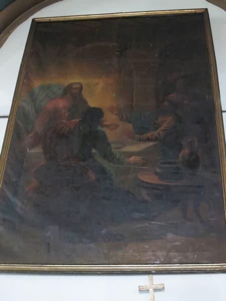 Фреска, рассказывающая о пути воскресшего Христа с двумя учениками в Эммаус, их беседе, и о том, как Он был узнан ими в преломлении хлеба. (Лука 24:12–35).
